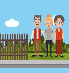 Family members fence landscape vector