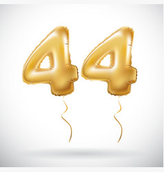 Golden 44 number forty-four metallic balloon vector