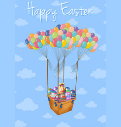 Happy easter card with basket of eggs in sky vector