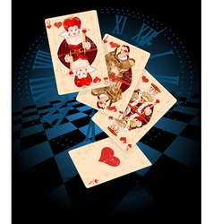 Hearts play cards vector