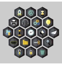 Hexagon business icons vector image vector image
