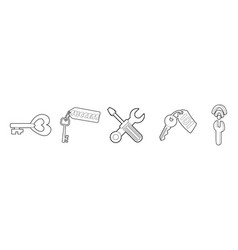 key icon set outline style vector image