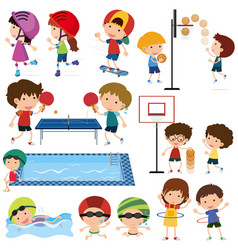 many children playing different sports vector image