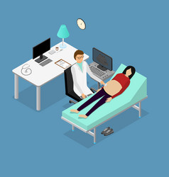 pregnancy woman and doctor with ultrasound vector image vector image