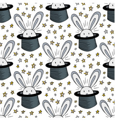 Rabbit in hat pattern seamless background for vector