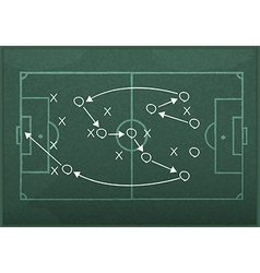 Realistic blackboard drawing a soccer game strateg vector image vector image