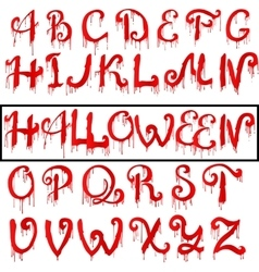 Red Blood text Halloween horror letters vector image
