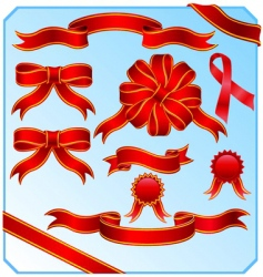 red ribbons vector image