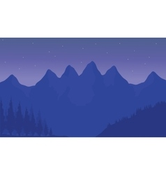 Silhouette of mountain with purple background vector