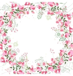 Square frame with contour sweet peas and herbs on vector image