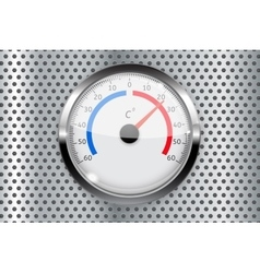 Thermometer with metal frame on perforated vector image vector image