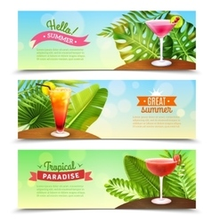 Tropical paradise vacations 3 banners set vector