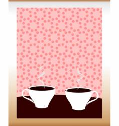 two cups of coffee vector image vector image