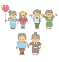 White background with set people of grandma and vector