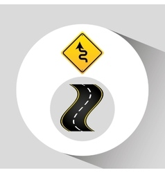 Winding road sign concept graphic vector