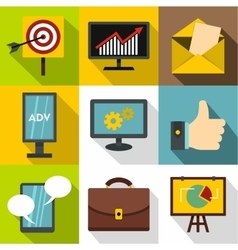 Contextual advertising icons set flat style vector