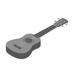 Acoustic bass guitar icon in monochrome style vector image