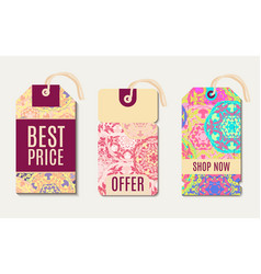 Set ethnic tag gift coupon vector