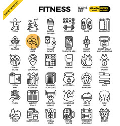 Fitness line icon set vector