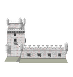 Antique brick european castle with tall tower vector