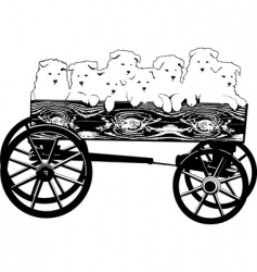 Puppies in cart vector