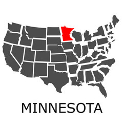 State of minnesota on map of usa vector
