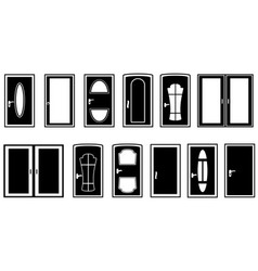 Set doors black silhouette vector
