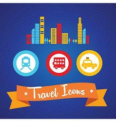 Travel and Transport Icons vector image