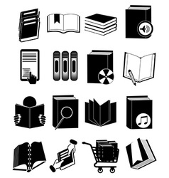 Library books icons set vector