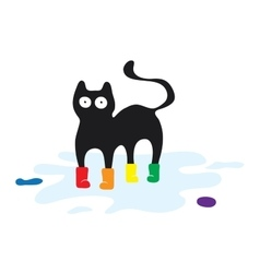 Cat in colored rubber boots print on clothes vector