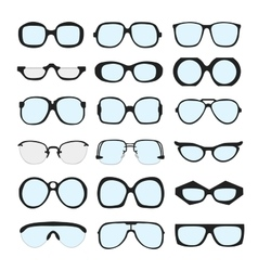 Set of different glasses with lenses on vector