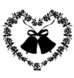 Antique ornament of a heart with bells vector