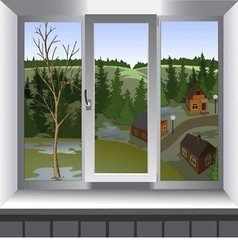 View from window of landscape spring vector