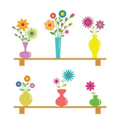 Set of six flower vases vector image
