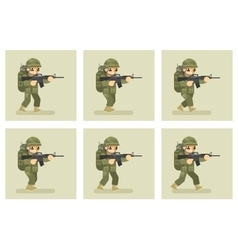 Soldier flat design run animation frames vector