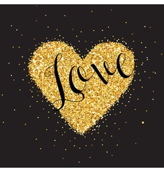 Love card with golden glitter heart vector