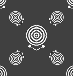 Darts icon sign seamless pattern on a gray vector
