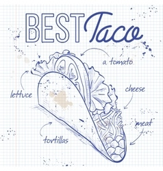 Taco recipe on a notebook page vector