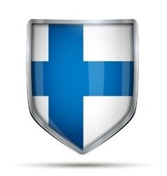 Shield with flag finland vector