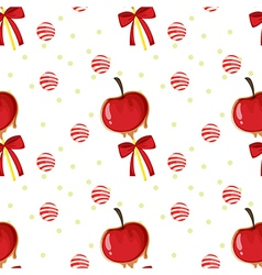 A seamless template with apples candy balls and vector