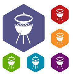barbecue icons set hexagon vector image