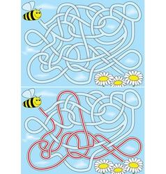 Bee maze vector image vector image