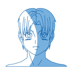 cartoon young guy anime boy character japanese vector image vector image