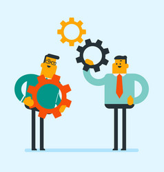 Caucasian white business men assembling gears vector