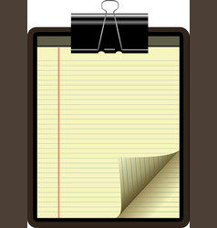 Clipboard yellow legal pad corner paper page curl vector