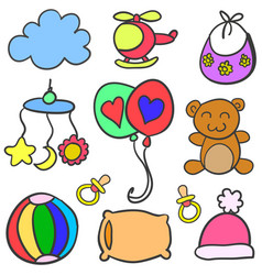 Collection of object baby set doodle vector