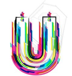 Colorful Font Letter U vector image vector image