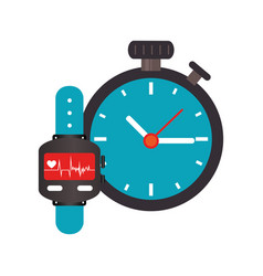 Colorful watch with screen heartbeat monitoring vector