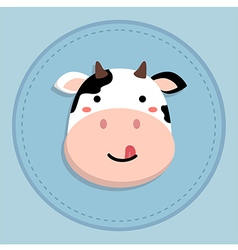 Cute cow sticking tongue out vector