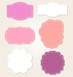 Cute vintage labels set in pastel colors vector